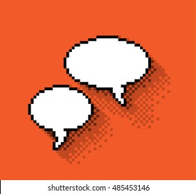Set of empty pixel text bubbles in flat design, illustration. - Editable stock vector