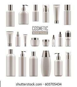 Set of empty realistic package for cosmetic product. Collection of blank template of plastic container with pump, tube, bottle with dispenser, spray. Vector mockup of packages isolated on white