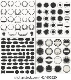 Set of empty retro vintage frames laurels badges and stamps