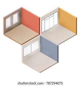 set of Empty Rooms in Isometric. room with window. vector illustration