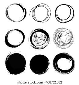 set of empty scribble circles, vector design elements