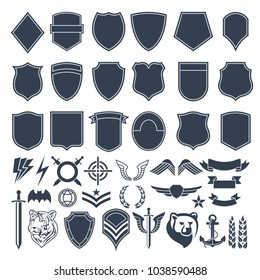 Set of empty shapes for military badges. Army monochrome symbols. Vector military badge and emblem, shield label armed illustration