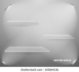 Set of Empty Shelf. Vector Design. Shop Bookshelf.