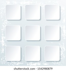 Set of empty square buttons with shadow isolated on grunge background. Vector illustration.