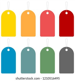 Set empty tags. Flat vector graphic illustration.