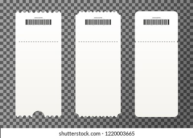 Set of empty ticket templates isolated on transparent background. Blank tickets mockup for entrance to the concert, cinema, circus and festival. Vector
