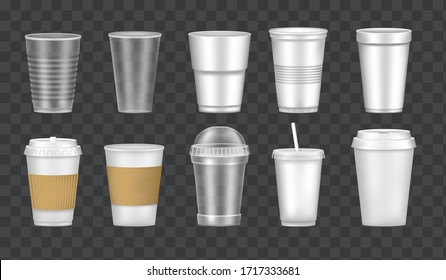 Set of empty transparent realistic cup glasses. Mockup paper, plastic disposable 3D glasses takeaway for cold and hot drinks. Container plastic cup mockups for juice, tea, coffee vector illustration.