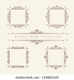 Set of empty vector frames, corners and borders, vintage style with leaves, curls, swirls.