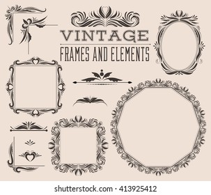 Set of empty vector frames, corners and borders, vintage style with leaves, curls, swirls. Decorative template collection for pictures and photos. Retro design for albums, menu, brochures and labels.