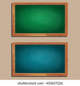 set of empty vector wooden blackboards