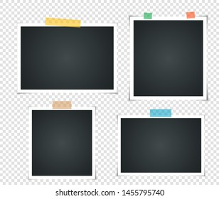 Set of empty vintage photo frame with adhesive tape. Photorealistic Mockups. Retro Template for your picture photos. illustration - Vector