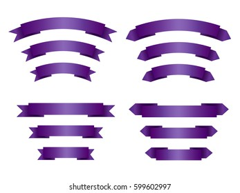 Set of empty violet (purple) ribbons with place for text. Blank vector banners for sale. Design elements for fashion products. Isolated on white background.