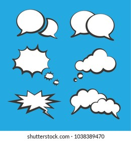 Set of empty white bubble speech and thought. Cartoon pop art and comic bubbles. Vector illustration. Isolated