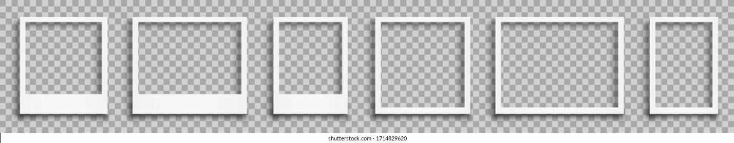 Set empty white photo frame with shadows - stock vector