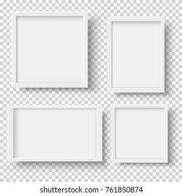 Set of empty white picture frames. Blank white picture frames mockup template isolated on transparent background. Vector collection