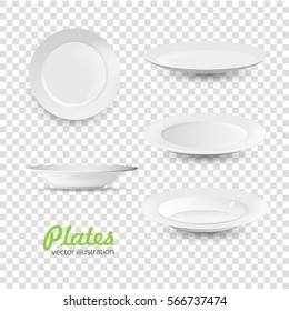 Set of empty white plate on transparency background