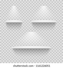 Set of empty white shelves isolated on transparent background. Vector design elements.