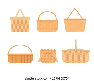 Set of empty wicker picnic baskets isolated on white background. Collection of different hand woven willow baskets and hampers. Vector flat cartoon illustration.