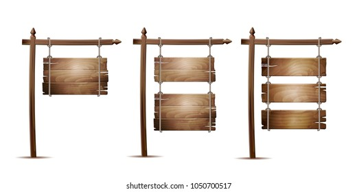 Set of Empty wooden board sign hanging on a rope isolated on white. Vector illustration