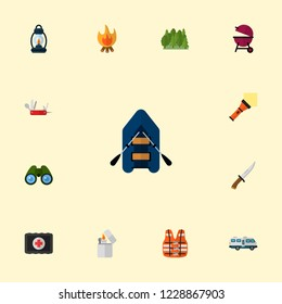 Set of encampment icons flat style symbols with medicine chest, forest, rubber boat and other icons for your web mobile app logo design.