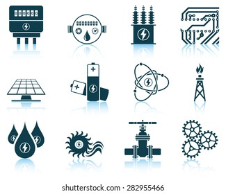 Set of energy icons. EPS 10 vector illustration without transparency.