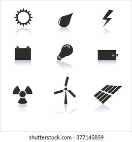 Set energy icons gray with a mirror reflection, vector illustration.