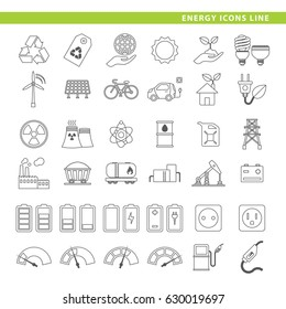 Set of energy icons in line style.