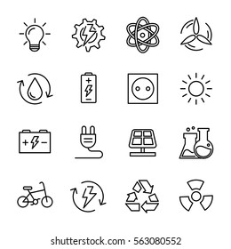 Set of energy icons in modern thin line style. High quality black outline electicity symbols for web site design and mobile apps. Simple energy pictograms on a white background.