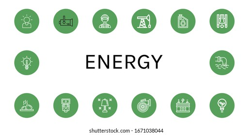 Set of energy icons. Such as Brainstorming, Spotlight, Electrician, Oil pump, Oil, Inversion therapy, Lithotherapy, Flash, Table lamp, Turbo, Battery, Light bulb , energy icons