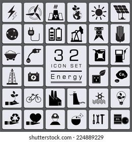 Set of Energy icons for web icon collections.
