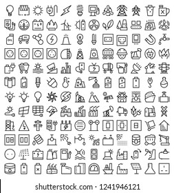 Set of Energy Related Vector Line Icons