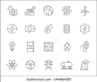 Set of energy and renewable Icons line style. Included the icons as wind ,solar energy, hydrogen, power station, low energy house And Other Elements.