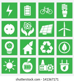Set of energy saving icons - part 1 - vector icons