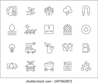 Set of energy and solar power Icons line style. Included the icons as solar panels,  green energy, oil, ecology, power socket And Other Elements. customize color, stroke width control , easy resize.
