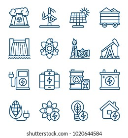 Set of energy sources icons. Vector illustration
