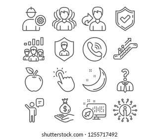 Set of Engineer, Security agency and Group icons. Touchpoint, Income money and Agent signs. Teamwork results, Hiring employees and Escalator symbols. Vector