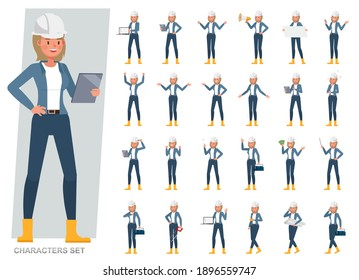 Set of engineer woman wear blue jacket working character vector design. Presentation in various action with emotions, running, standing and walking.