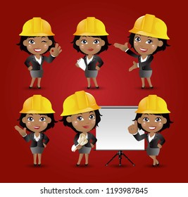 Set of engineer, worker