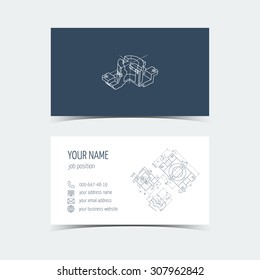 Set of engineering business card. Engineering drawings. vector illustration