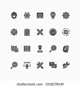 Set of engineering icons. For your design, logo. Vector illustration.