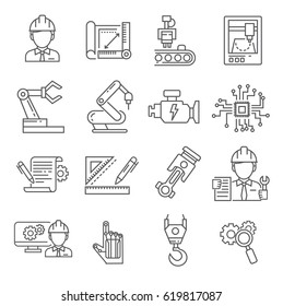 Set of engineering Related Vector Line Icons. Includes such Icons as engineer, robotics, CNC machines, engine, equipment, factory, sketches, prototyping, milling machine