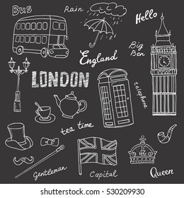Set of England symbols,landmarks.Black background,sketch.Hand drawn set with crown,Big Ben,red bus,flag,tea pot, vector illustration isolated,words:London,rain, capital,Queen,gentleman,hello,tea time