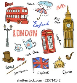 Set of England symbols,landmarks.Travel icons.Hand drawn set with crown,Big Ben,  red bus,flag,tea pot, vector illustration isolated,words:London,England,rain, capital,Queen,gentleman,hello,tea time