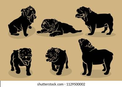 Set of English bulldog silhouettes - vector illustration