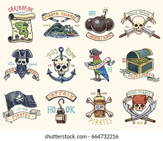 set of engraved, hand drawn, old, labels or badges for corsairs, skull at anchor, map to treasure, black beard, Caribbean island. Jolly roger. Pirates marine and nautical or sea, ocean emblem.