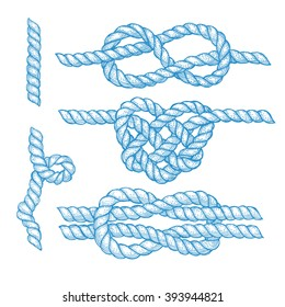 Set of engraved knots and ropes in vintage style, vector