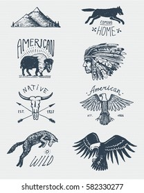 set of engraved vintage, hand drawn, old, labels or badges for camping, hiking, hunting with bald eagle. buffalo, skull. wolf and mountains with red skinned indian, native american.