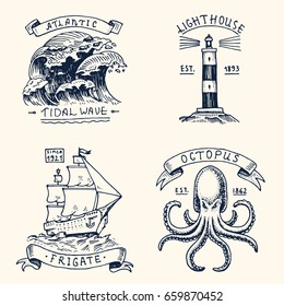 set of engraved vintage, hand drawn, old, labels or badges for atlantic tidal wave, lighthouse and octopus or sea creature, frigate or ship. Marine and nautical or sea, ocean emblems.
