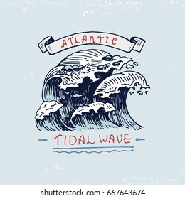 set of engraved vintage, hand drawn, old, labels or badges for atlantic tidal wave. Marine and nautical or sea, ocean emblems