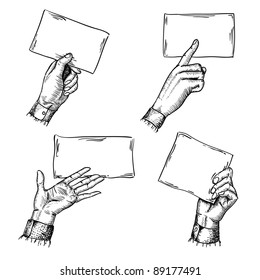 set of engraving style hands with blank cards